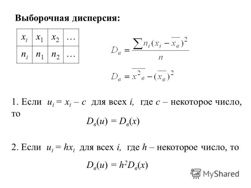 xixi x1x1 x2x2 … nini n1n1 n2n2 … Выборочная дисперсия: 2. Если u i = hx i для всех i, где h – некоторое число, то 1. Если u i = x i – c для всех i, где с – некоторое число, то D в (u) = D в (x) D в (u) = h 2 D в (x)