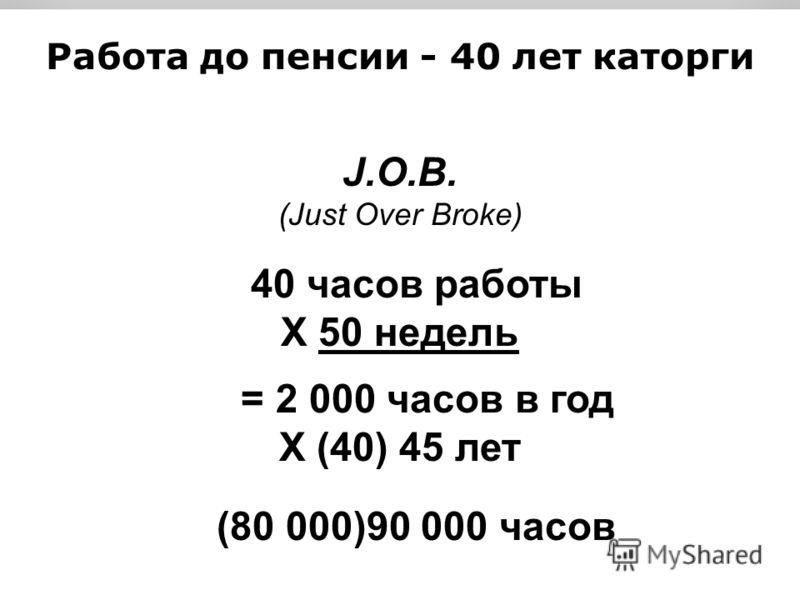 Работа до пенсии - 40 лет каторги J.O.B. (Just Over Broke) 40 часов работы X 50 недель = 2 000 часов в год X (40) 45 лет (80 000)90 000 часов