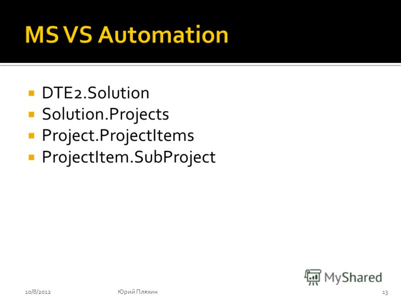 DTE2.Solution Solution.Projects Project.ProjectItems ProjectItem.SubProject 8/9/201213Юрий Пляхин