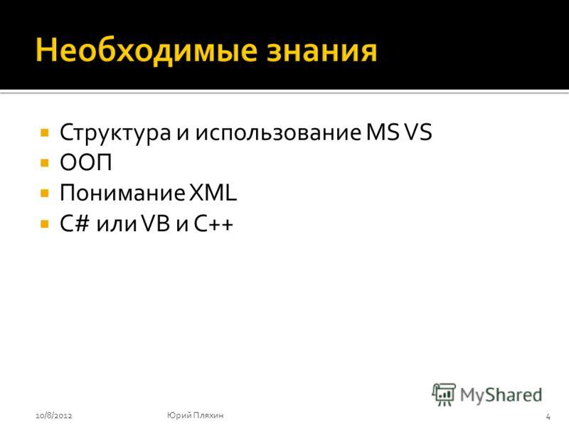 Структура и использование MS VS ООП Понимание XML C# или VB и С++ 8/9/20124Юрий Пляхин