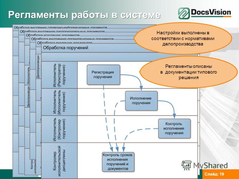 www.docsvision.comСлайд: 19 Регламенты работы в системе Настройки выполнены в соответствии с нормативами делопроизводства Регламенты описаны в документации типового решения