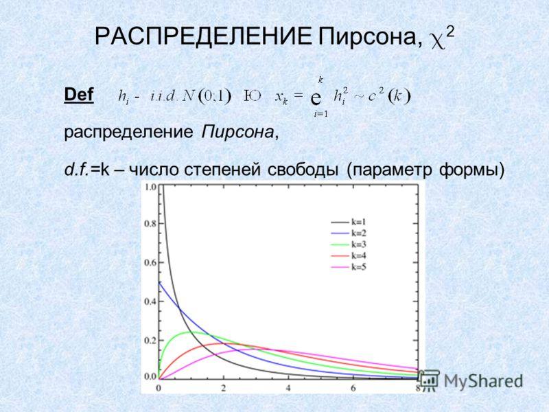 РАСПРЕДЕЛЕНИЕ Пирсона, 2 Def распределение Пирсона, d.f.=k – число степеней свободы (параметр формы)