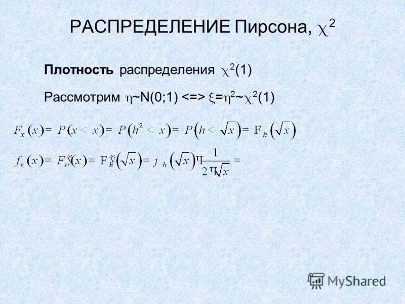 РАСПРЕДЕЛЕНИЕ Пирсона, 2 Плотность распределения 2 (1) Рассмотрим ~N(0;1) = 2 ~ 2 (1)