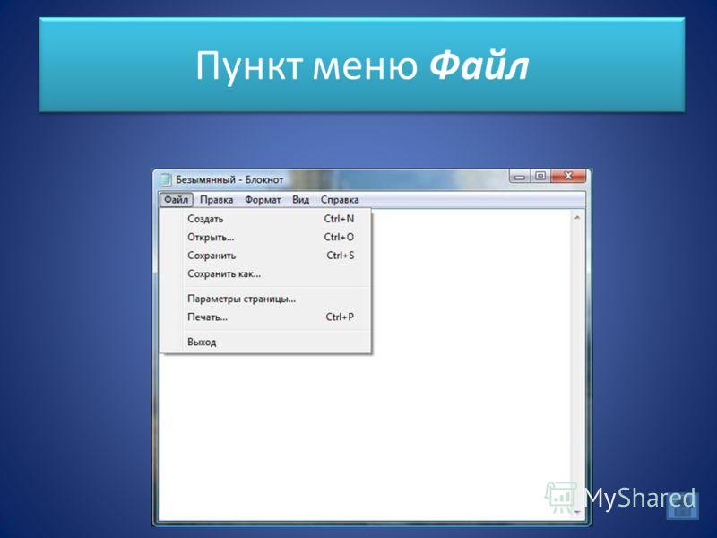 Пункт меню Файл
