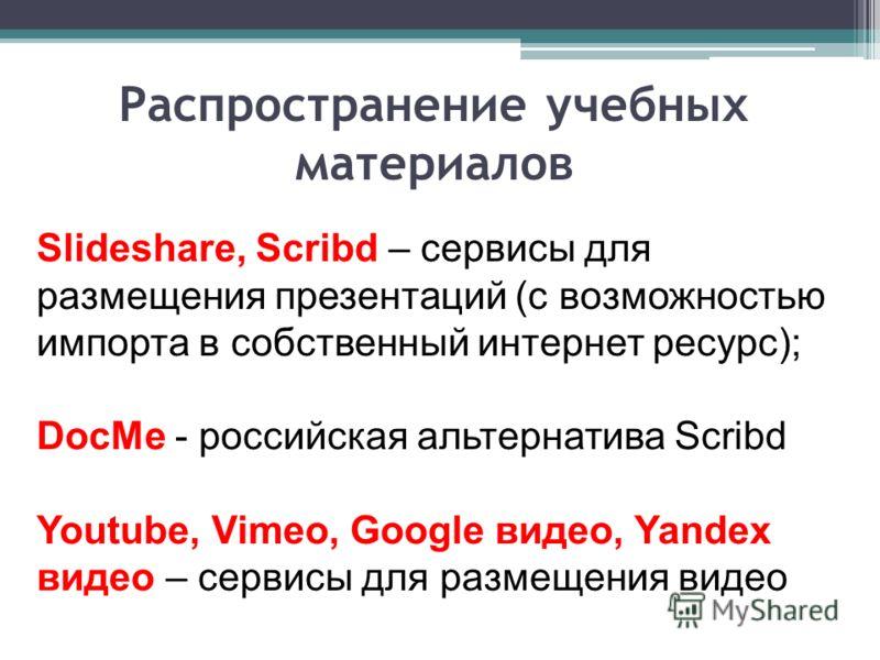 Slideshare, Scribd – сервисы для размещения презентаций (с возможностью импорта в собственный интернет ресурс); DocMe - российская альтернатива Scribd Youtube, Vimeo, Google видео, Yandex видео – сервисы для размещения видео Распространение учебных м