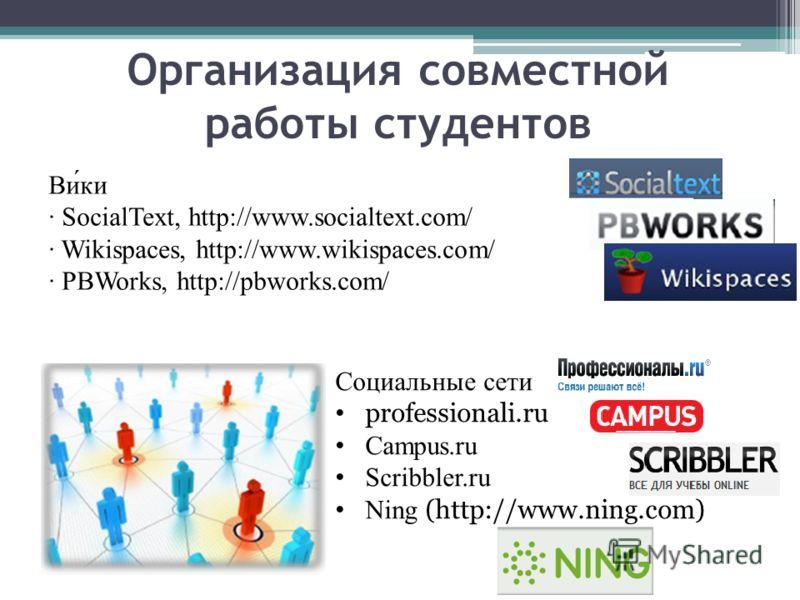 Ви́ки · SocialText, http://www.socialtext.com/ · Wikispaces, http://www.wikispaces.com/ · PBWorks, http://pbworks.com/ Организация совместной работы студентов Социальные сети professionali.ru Campus.ru Scribbler.ru Ning (http://www.ning.com)