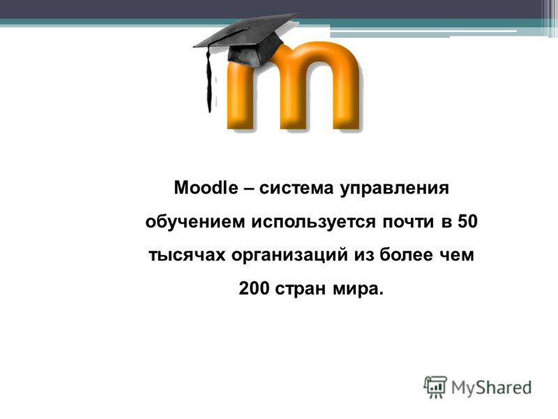 Moodle – система управления обучением используется почти в 50 тысячах организаций из более чем 200 стран мира.