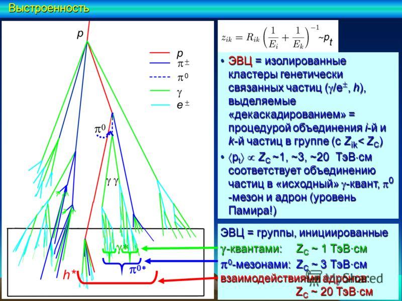 ЭВЦ = группы, инициированные -квантами: Z С ~ 1 ТэВ·см -квантами: Z С ~ 1 ТэВ·см 0 -мезонами: Z С ~ 3 ТэВ·см 0 -мезонами: Z С ~ 3 ТэВ·см взаимодействиями адронов: Z С ~ 20 ТэВ·см Z С ~ 20 ТэВ·см h*Выстроенность ЭВЦ = изолированные кластеры генетическ