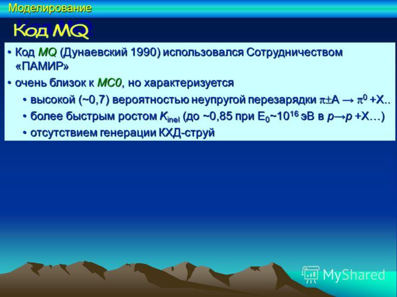 КодMQ (Дунаевский 1990) использовался Сотрудничеством «ПАМИР»Код MQ (Дунаевский 1990) использовался Сотрудничеством «ПАМИР» очень близок к MC0, но характеризуетсяочень близок к MC0, но характеризуется высокой (~0,7) вероятностью неупругой перезарядки