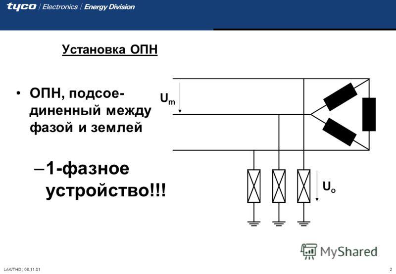 LAK/THD ; 08.11.01 2 ОПН, подсое- диненный между фазой и землей –1-фазное устройство!!! Установка ОПН UoUo UmUm
