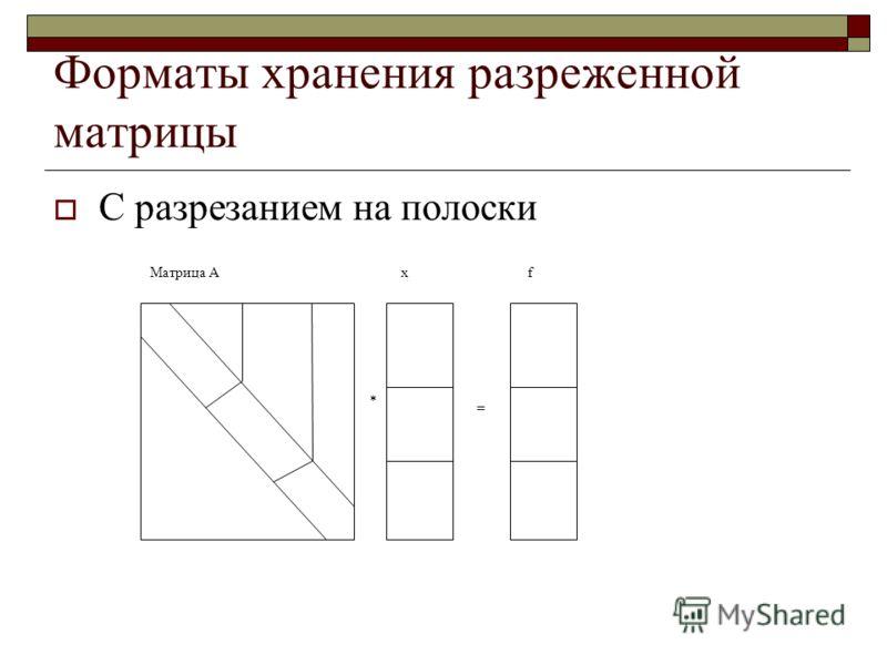 Форматы хранения разреженной матрицы С разрезанием на полоски Матрица Аxf = *