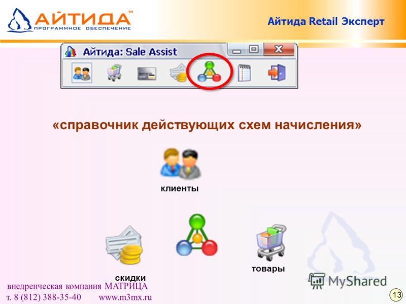 «справочник действующих схем начисления» клиенты скидки товары 13 Айтида Retail Эксперт