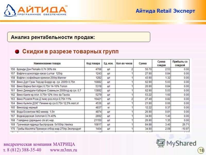 Скидки в разрезе товарных групп Анализ рентабельности продаж: 18 Айтида Retail Эксперт