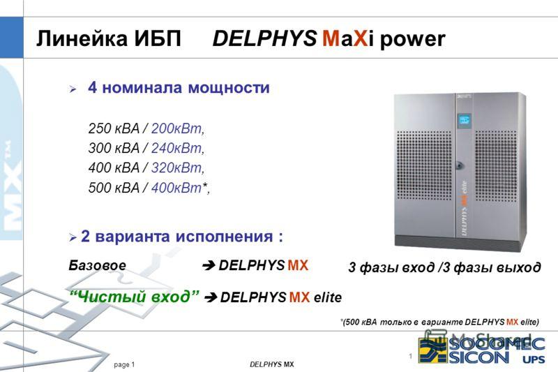 1 DELPHYS MXpage 1 Линейка ИБП DELPHYS MaXi power 4 номинала мощности 250 кВА / 200кВт, 300 кВА / 240кВт, 400 кВА / 320кВт, 500 кВА / 400кВт*, 3 фазы вход /3 фазы выход 2 варианта исполнения : Базовое DELPHYS MX Чистый вход DELPHYS MX elite *(500 кВА