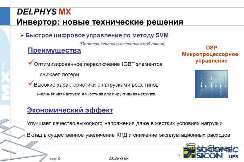 12 DELPHYS MXpage 12 DELPHYS MX Инвертор: новые технические решения Быстрое цифровое управление по методу SVM (Пространственно-векторная модуляция) Преимущества Оптимизированное переключение IGBT элементов снижает потери Высокие характеристики с нагр