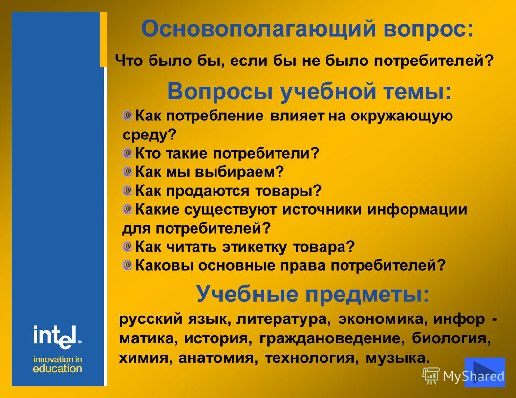 Основополагающий вопрос: Что было бы, если бы не было потребителей? Вопросы учебной темы: Учебные предметы: русский язык, литература, экономика, инфор - матика, история, граждановедение, биология, химия, анатомия, технология, музыка. Как потребление