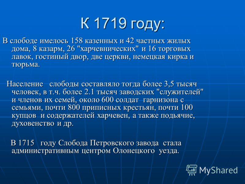 К 1719 году: В слободе имелось 158 казенных и 42 частных жилых дома, 8 казарм, 26