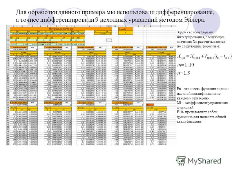 Для обработки данного примера мы использовали дифференцирование, а точнее дифференцировали 9 исходных уравнений методом Эйлера. Дифференцирование Здесь столбец t время интегрирования, следующие значения Хn рассчитываются по следующим формулам: Fn - э