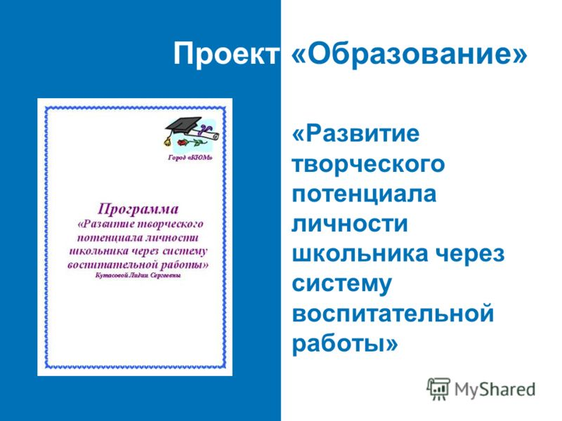 Проект «Образование» «Развитие творческого потенциала личности школьника через систему воспитательной работы»