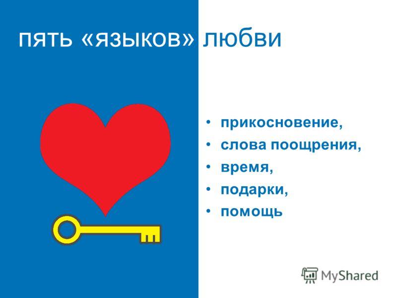 пять «языков» любви пять путей к сердцу ребенка прикосновение, слова поощрения, время, подарки, помощь