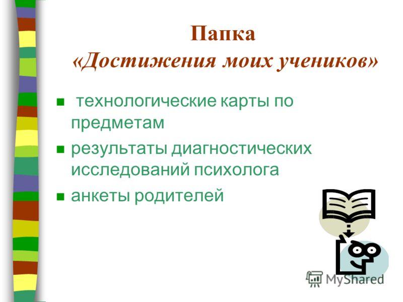 Папка «Достижения моих учеников» n технологические карты по предметам n результаты диагностических исследований психолога n анкеты родителей