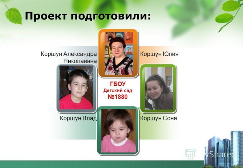 Коршун Александра Николаевна Коршун Влад Коршун Юлия Коршун Соня ГБОУ Детский сад 1880 Проект подготовили: