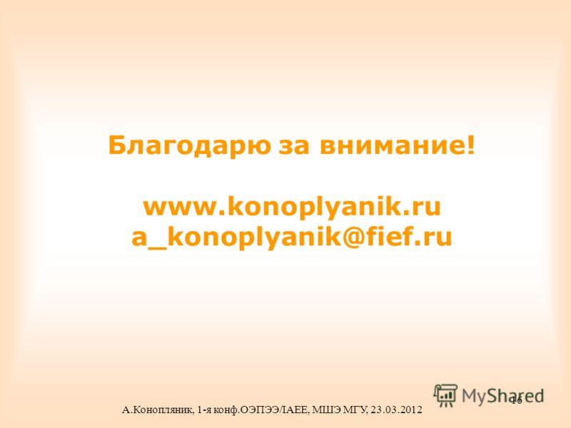 Благодарю за внимание! www.konoplyanik.ru a_konoplyanik@fief.ru А.Конопляник, 1-я конф.ОЭПЭЭ/IAEE, МШЭ МГУ, 23.03.2012 16