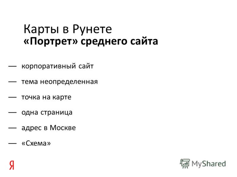 «Портрет» среднего сайта Карты в Рунете корпоративный сайт тема неопределенная точка на карте одна страница адрес в Москве «Схема»