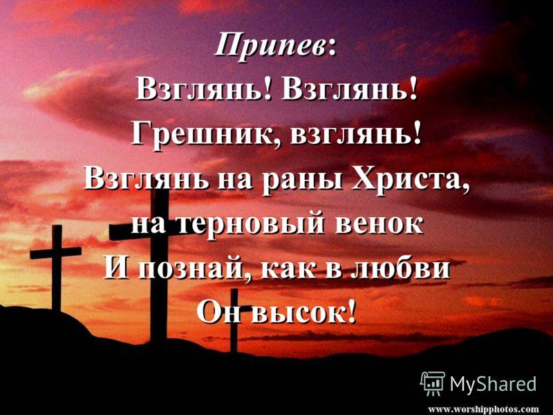 Припев: Взглянь! Грешник, взглянь! Взглянь на раны Христа, на терновый венок И познай, как в любви Он высок! Припев: Взглянь! Грешник, взглянь! Взглянь на раны Христа, на терновый венок И познай, как в любви Он высок!
