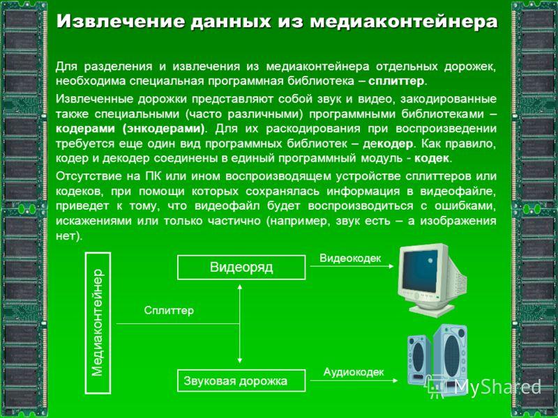 Извлечение данных из медиаконтейнера Для разделения и извлечения из медиаконтейнера отдельных дорожек, необходима специальная программная библиотека – сплиттер. Извлеченные дорожки представляют собой звук и видео, закодированные также специальными (ч