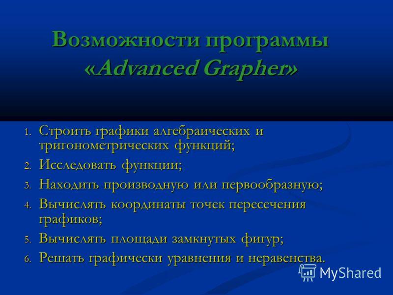 Возможности программы «Advanced Grapher» 1. С троить графики алгебраических и тригонометрических функций; 2. И сследовать функции; 3. Н аходить производную или первообразную; 4. В ычислять координаты точек пересечения графиков; 5. В ычислять площади