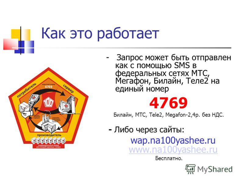 Как это работает - Запрос может быть отправлен как с помощью SMS в федеральных сетях МТС, Мегафон, Билайн, Теле2 на единый номер 4769 Билайн, МТС, Теlе2, Megafon-2,4р. без НДС. - Либо через сайты: wap.na100yashee.ru www.na100yashee.ru www.na100yashee