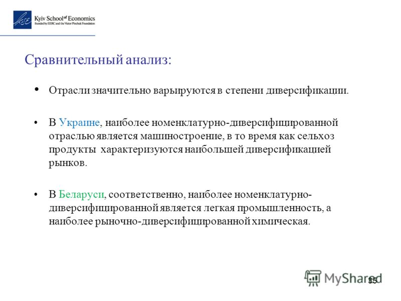 35 Сравнительный анализ: Отрасли значительно варьируются в степени диверсификации. В Украине, наиболее номенклатурно-диверсифицированной отраслью является машиностроение, в то время как сельхоз продукты характеризуются наибольшей диверсификацией рынк
