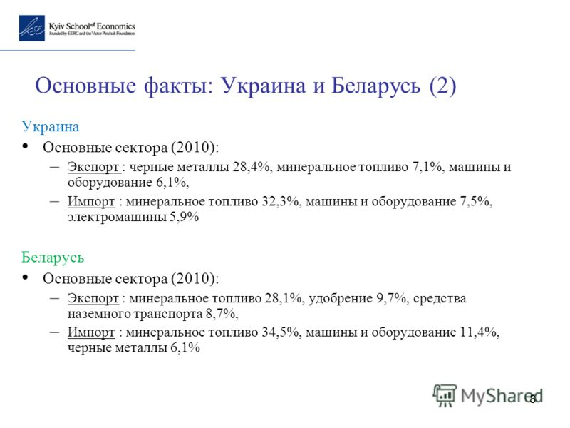 8 Основные факты: Украина и Беларусь (2) Украина Основные сектора (2010): – Экспорт : черные металлы 28,4%, минеральное топливо 7,1%, машины и оборудование 6,1%, – Импорт : минеральное топливо 32,3%, машины и оборудование 7,5%, электромашины 5,9% Бел