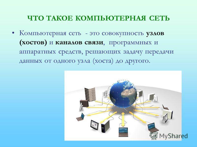 ЧТО ТАКОЕ КОМПЬЮТЕРНАЯ СЕТЬ Компьютерная сеть - это совокупность узлов (хостов) и каналов связи, программных и аппаратных средств, решающих задачу передачи данных от одного узла (хоста) до другого.