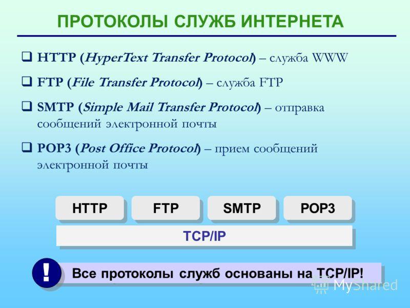 ПРОТОКОЛЫ СЛУЖБ ИНТЕРНЕТА HTTP (HyperText Transfer Protocol) – служба WWW FTP (File Transfer Protocol) – служба FTP SMTP (Simple Mail Transfer Protocol) – отправка сообщений электронной почты POP3 (Post Office Protocol) – прием сообщений электронной