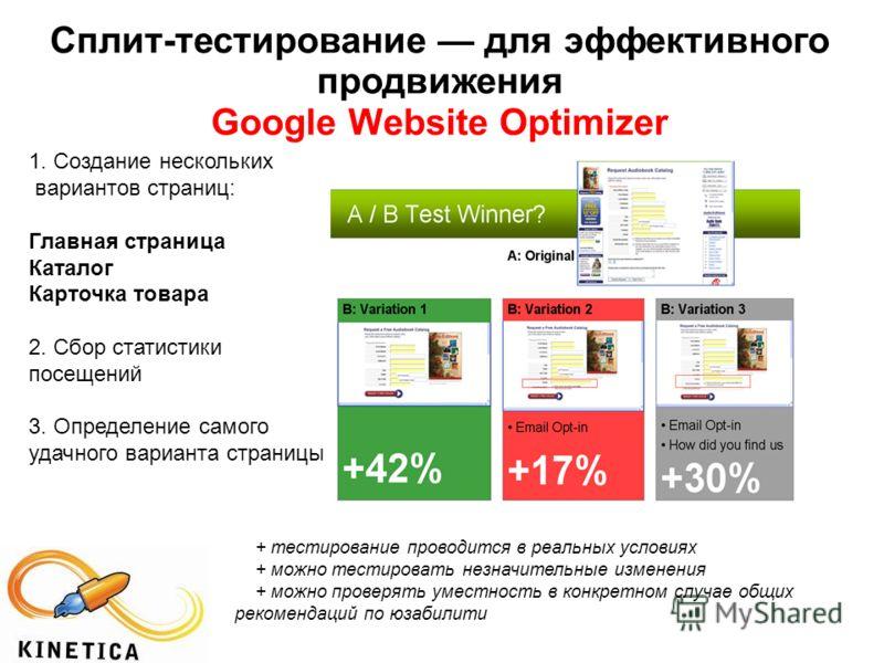 Сплит-тестирование для эффективного продвижения Google Website Optimizer 1. Создание нескольких вариантов страниц: Главная страница Каталог Карточка товара 2. Сбор статистики посещений 3. Определение самого удачного варианта страницы + тестирование п