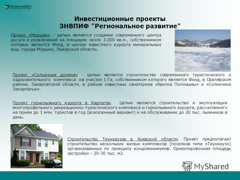 Инвестиционные проекты ЗНВПИФ