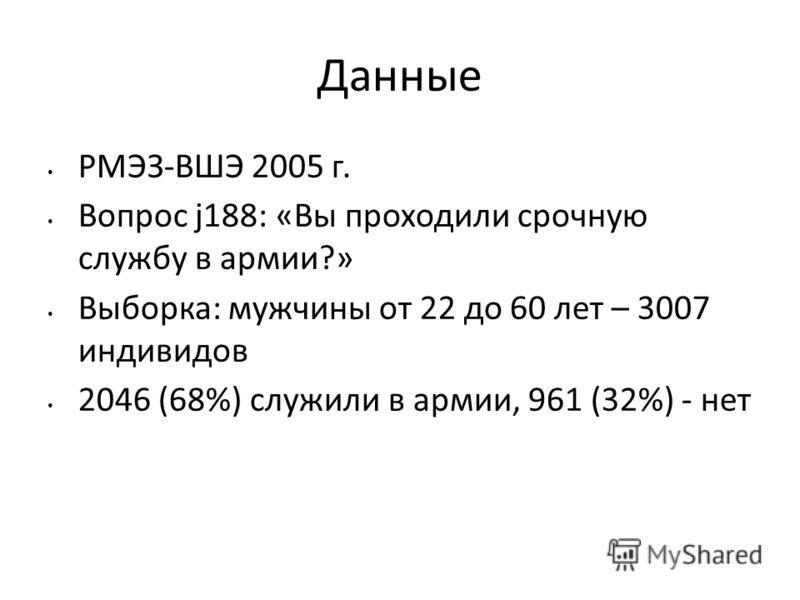 Данные РМЭЗ-ВШЭ 2005 г. Вопрос j188: «Вы проходили срочную службу в армии?» Выборка: мужчины от 22 до 60 лет – 3007 индивидов 2046 (68%) служили в армии, 961 (32%) - нет