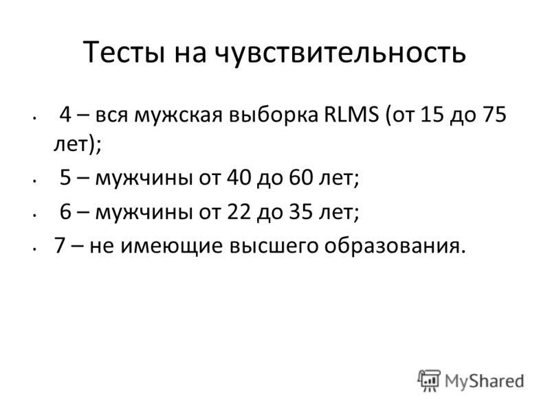 Тесты на чувствительность 4 – вся мужская выборка RLMS (от 15 до 75 лет); 5 – мужчины от 40 до 60 лет; 6 – мужчины от 22 до 35 лет; 7 – не имеющие высшего образования.