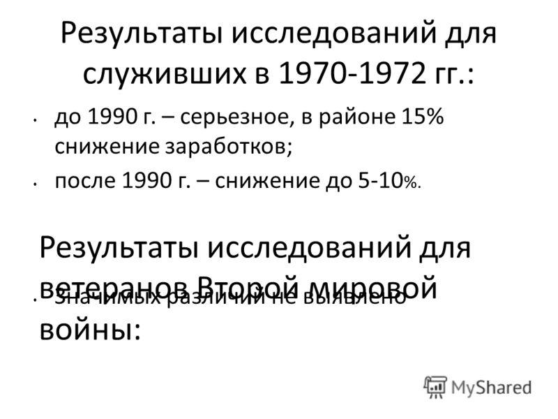 Результаты исследований для служивших в 1970-1972 гг.: до 1990 г. – серьезное, в районе 15% снижение заработков; после 1990 г. – снижение до 5-10 %. Значимых различий не выявлено Результаты исследований для ветеранов Второй мировой войны: