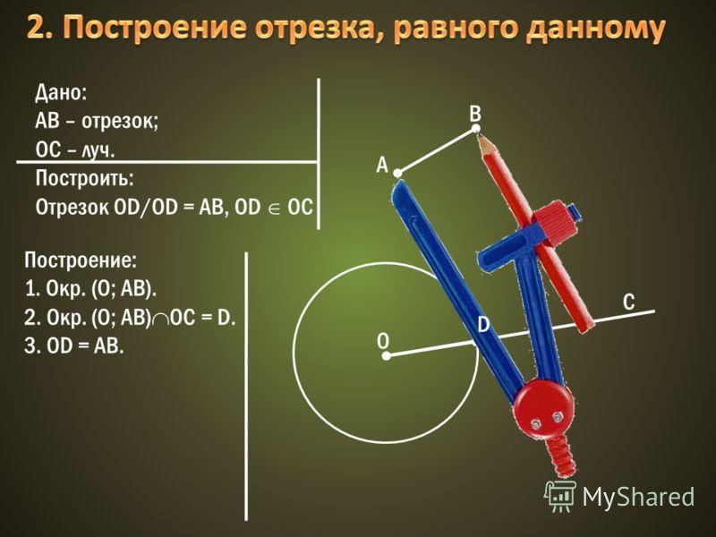Дано: АВ – отрезок; OC – луч. Построить: Отрезок OD/OD = AB, OD OC A B O C Построение: 1. Окр. (О; АВ). 2. Окр. (О; АВ) ОС = D. 3. OD = AB. D