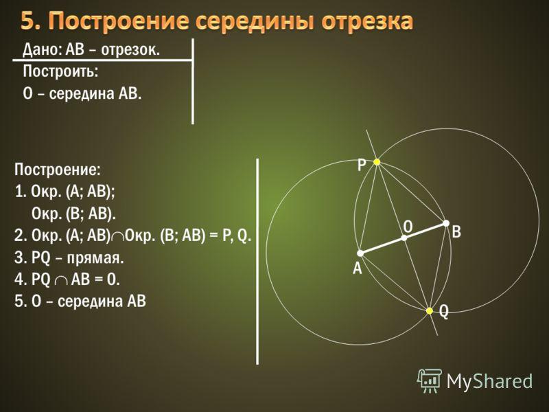 Дано: АВ – отрезок. Построить: О – середина АВ. Построение: 1. Окр. (A; АВ); Окр. (В; АВ). 2. Окр. (A; AB) Oкр. (B; AB) = P, Q. 3. PQ – прямая. 4. PQ АВ = 0. 5. О – середина АВ О B А P Q