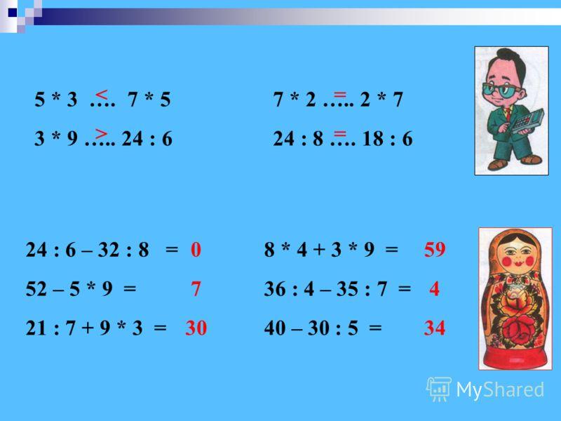 24 : 6 – 32 : 8 = 52 – 5 * 9 = 21 : 7 + 9 * 3 = 8 * 4 + 3 * 9 = 36 : 4 – 35 : 7 = 40 – 30 : 5 = 5 * 3 …. 7 * 5 3 * 9 ….. 24 : 6 7 * 2 ….. 2 * 7 24 : 8 …. 18 : 6 0 7 30 59 4 34  ====