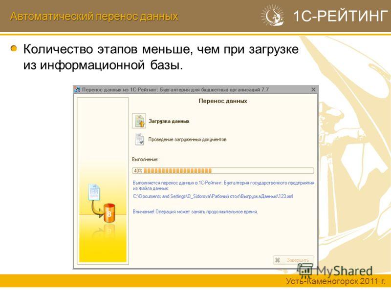 Автоматический перенос данных Усть-Каменогорск 2011 г. 1С-РЕЙТИНГ Количество этапов меньше, чем при загрузке из информационной базы.