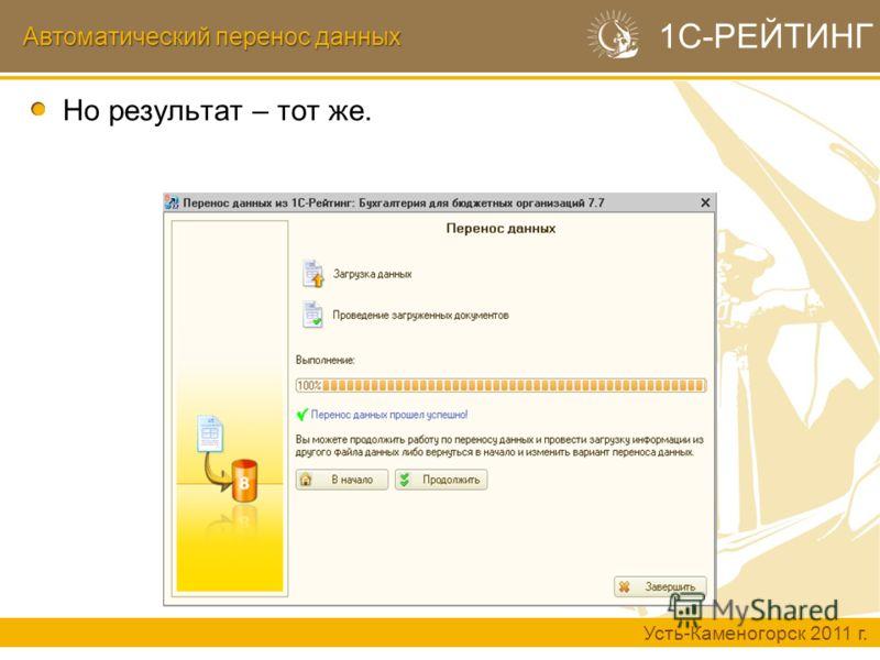 Автоматический перенос данных Усть-Каменогорск 2011 г. 1С-РЕЙТИНГ Но результат – тот же.