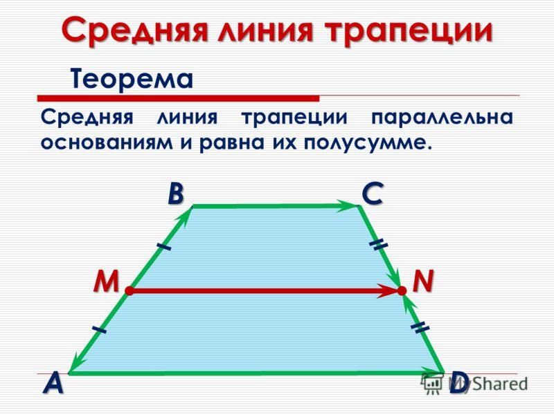 Средняя линия трапеции Теорема Средняя линия трапеции параллельна основаниям и равна их полусумме. MN B A C D