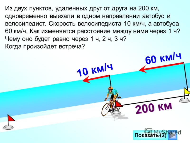 60 км/ч Показать (2) 200 км 10 км/ч Из двух пунктов, удаленных друг от друга на 200 км, одновременно выехали в одном направлении автобус и велосипедист. Скорость велосипедиста 10 км/ч, а автобуса 60 км/ч. Как изменяется расстояние между ними через 1