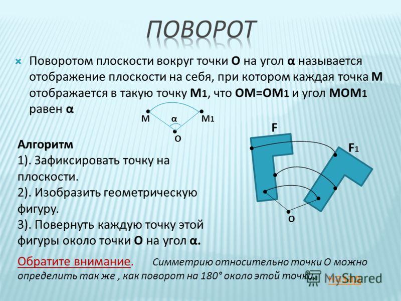 Поворотом плоскости вокруг точки О на угол α называется отображение плоскости на себя, при котором каждая точка М отображается в такую точку М 1, что ОМ=ОМ 1 и угол МОМ 1 равен α F F1F1 О Алгоритм 1). Зафиксировать точку на плоскости. 2). Изобразить
