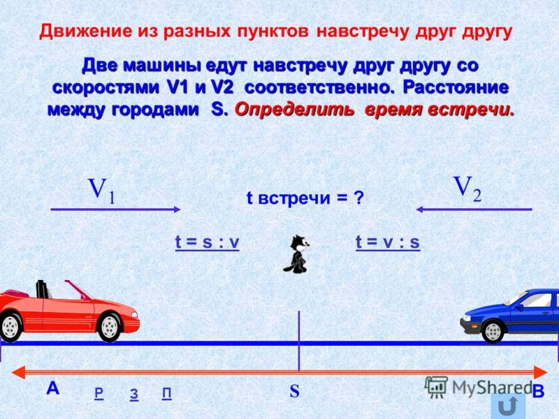 Две машины едут навстречу друг другу со скоростями V1 и V2 соответственно. Расстояние между городами S. Определить время встречи. V1V1 V2V2 t встречи = ? S Движение из разных пунктов навстречу друг другу t = s : vt = v : s А В Р З П